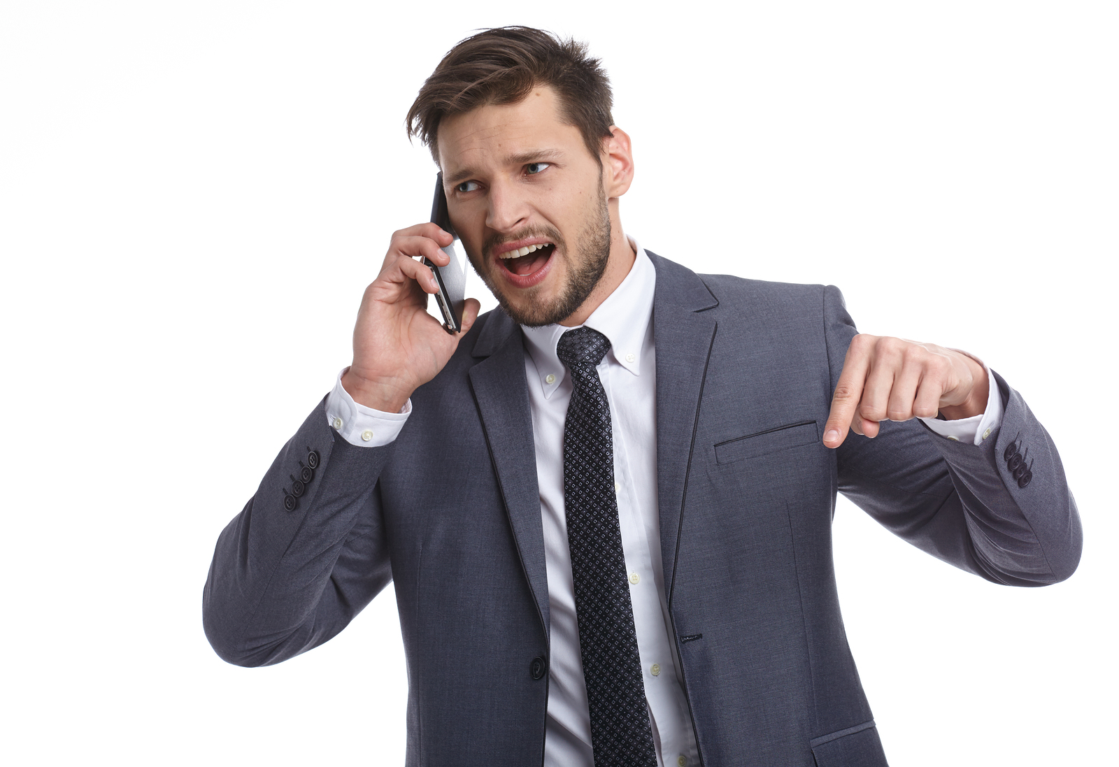 Emotional young man is talking on the phone. The human face, exp