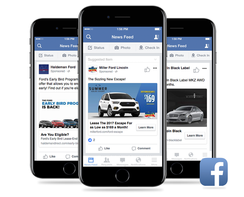 Get your vehicles and offers seen on Facebook with Advanced Facebook Advertising