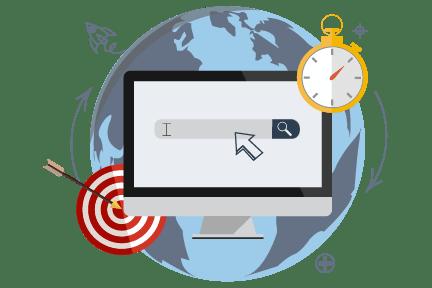 globe illustration with automated marketing graphics